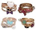 J36-Sexy Cute Gold Colour Adjustable Size Cat Bow Gem Diamante Rings-Set of 3