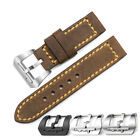 24mm Vintage Brown Genuine Leather Watch Band Submarine Tan Buckle Strap For PAM