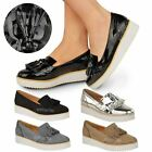 WOMENS LADIES LOAFERS FLAT SHOES CHUNKY CLEATED SOLE OFFICE SMART TASSEL SIZE
