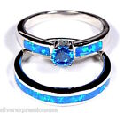 Blue Topaz & Blue Fire Opal 925 Sterling Silver Solitaire & Band Stack Ring Set
