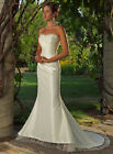 ELEGANT TAFFETA  MERMAID BRIDAL GOWN WITH TULLE TRIM & LACE UP BACK