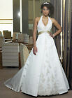 ELEGANT IVORY HALTER-NECK  BRIDAL GOWN WITH LACE AND BEADS & LACE UP BACK