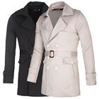 New Men's Stylish Slim Fit Double Breasted Coat Outerwear Casual Long Overcoat