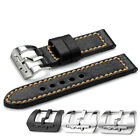 24mm Black Genuine Leather Watch Band Submarine Tan Clasp Strap For Panerai 44mm