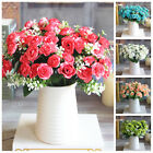 1 Bouquet 15 Head Artifical Plastic Rose Wedding Office Home Decor Silk Flower