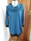 FENN WRIGHT MANSON TEAL BLACK OVERSIZED COWL NECK JUMPER TUNIC 100% MERINO WOOL