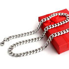 MENS Chain Stainless Steel Silver Tone Curb Link Necklace