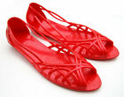 LADIES WOMEN'S GIRLS SUMMER JELLY SANDALS JELLIES BEACH SHOES RED SIZE 4-8 BNIP