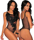 3237-Womens Black Floral Embroidered Sheer Mesh Bodysuit Leotard Top-UK 8-12