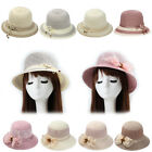 Magik Women Lady Summer Breathable Sun Braided Trim Straw Bowler Cap Cloche Hat