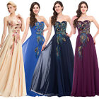 Vintage Peacock Chiffon Long Evening Gown Bridesmaid Cocktail Party Prom Dress