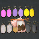 Pair Metal Wrap Oval Quartz Gemstone Chakra Bead Dangle Hook Earring with Box