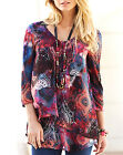 Joanna Hope Black FOLK TALES Printed Woven & Jersey Tunic Top Blouse Sz 12 to 24