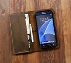 Personalized Vintage distressed genuine leather Galaxy S7 Case S7 Edge wallet