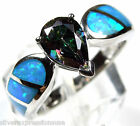 Rainbow Topaz & Blue Fire Opal Inlay Solid 925 Sterling Silver Ring size 9