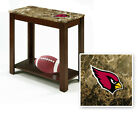FC695 NFL TEAM THEME CAPPUCCINO ESPRESSO WOOD FAUX MARBLE END TABLE NIGHT STAND