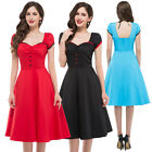 Women's Hollow Retro Vintage 50s Swing Pinup Summer Housewife Prom Tea Dress New