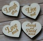 Wooden Hearts PERSONALISED Wedding Table Confetti 'Love Much' Design *Any names*