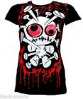 White Voodoo Doll TShirt Top Emo Punk Hand Printed by Couch UK Size Medium