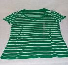 Tommy Hilfigter T-shirt Women's Short Sleeve Size M Tops Blouse V Neck Stripe