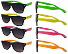 Mens Ladies Fashion Sunglasses Black Frame Colour Arm Dark Lens Retro 80s UV400