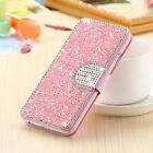 Bling Rhinestone Diamond PU Leather Flip Wallet Case Cover For iPhone X 7 8 Plus