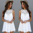 Women Sexy Summer Casual Sleeveless Evening Party Beach Dress Short Mini Dress#A