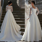 2018 New White Ivory A Line Long Sleeve Satin Bridal Gown Lace Wedding Dresses