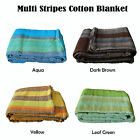 4 Color Choice - Multi Stripes 100% Cotton Blanket Choice of Single or Queen