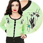 Voodoo Vixen Katherine Retro Kitty Cardigan Pin Up Rockabilly Atomic Vintage Cut