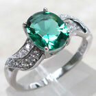 GORGEOUS 3 CT EMERALD 925 STERLING SILVER RING SIZE 5-10
