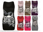 New Women/s Ladies Printed Skull Forever Young Sleeveless Vest Top Racer Back
