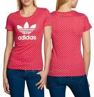 adidas Originals Trefoil Lips Girls Womens Cotton T-Shirt top UK 6 to 18  Pink
