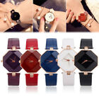 Fashion Women Ladies leather Stainless Analog Geneva Quartz Analog Wrist Watch