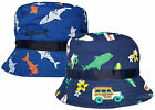 Kids 'Surf's Up' & Shark Design Sun Bush Hat Boys Girls Summer Cotton Cap New