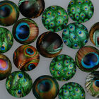 Mixed Dome Flatback Peacock Feather Pattern Glass Cabochons DIY Crafts