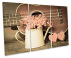 Hearts Guitar Floral TREBLE CANVAS WALL ART Box Framed Print