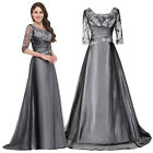 Long 1/2 Sleeve Bridesmaid Prom Evening GREY Party Dress Ball Gown Size 16/18+
