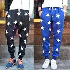 Men Print Stars Sweatpants Sports Dance Casual Sagging Pants Trousers Blue/Black