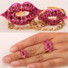 Lips ring slave above kuckle ring set adjustable bling jewelry gold plated RM16