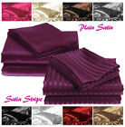 Plain or Stripe Silky Sexy Satin Pair of Housewife Standard Size Pillowcases