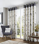 Charcoal Grey Pattern100% Cotton Fully Lined Curtains.  Next Day Delivery
