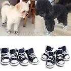 4pcs Small Pet Dog Puppy Sporty Boots Denim Canvas Sneaker Sports Shoes Blue New