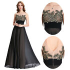 Womens Black Chiffon Evening Party Dress Long Lace Applique Maxi Prom Ball Gown