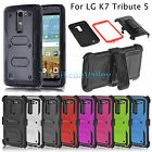 Hybrid Rugged Holster Case Protective Cover Belt Clip Stand For LG K7 Tribute 5