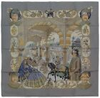Authentic Hermes Silk Scarf MAHARAJAS Grey Catherine Baschet