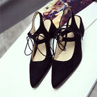 US Size Pointed Faux Suede Strap Buckle Lady Sandals Med Heel Women Shoes s711