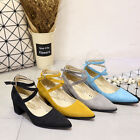 New Faux Suede Thick Med Heel Lady Shoes Strap Buckle Women Shoes UK Size s710