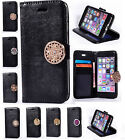 For Huawei Lenovo Black PU Leather Diamond Coin Moneda ID Card Wallet Case Cover