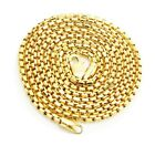 10K Gold Fancy Link Chain 4mm Wide Mens Long Link Chain With Lobster Clasp 24-32